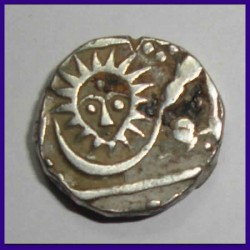 Indore State 1/2 Rupee Malharnagar Sunface With Dot On Forehead - Silver Coin
