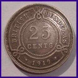 1919 British Honduras 25 Cents, George V King, Silver Coin