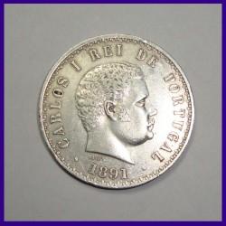 500 Reis, Carlos 1, Portugal 1891 Silver Coin