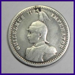 1906 German East Africa 1/4th Rupie, Guilelmus II Silver Coin