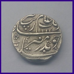 Aurangzeb Hyderabad Mint One Rupee Silver Coin, Mughal Emperor