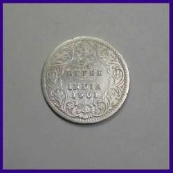 1901 Quarter (1/4) Rupee, Victoria Empress