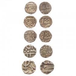 Gwalior State Full Set Of 5 Coins - Jiyaji Rao, Lashkar Mint, - Silver Coins