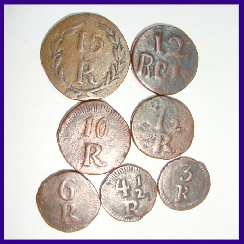 Set of 7 Different Reis Portuguese India - 15 Reis, 12 Reis, 10 Reis, 7.5 Reis, 6 Reis, 4.5 Reis, and 3 Reis
