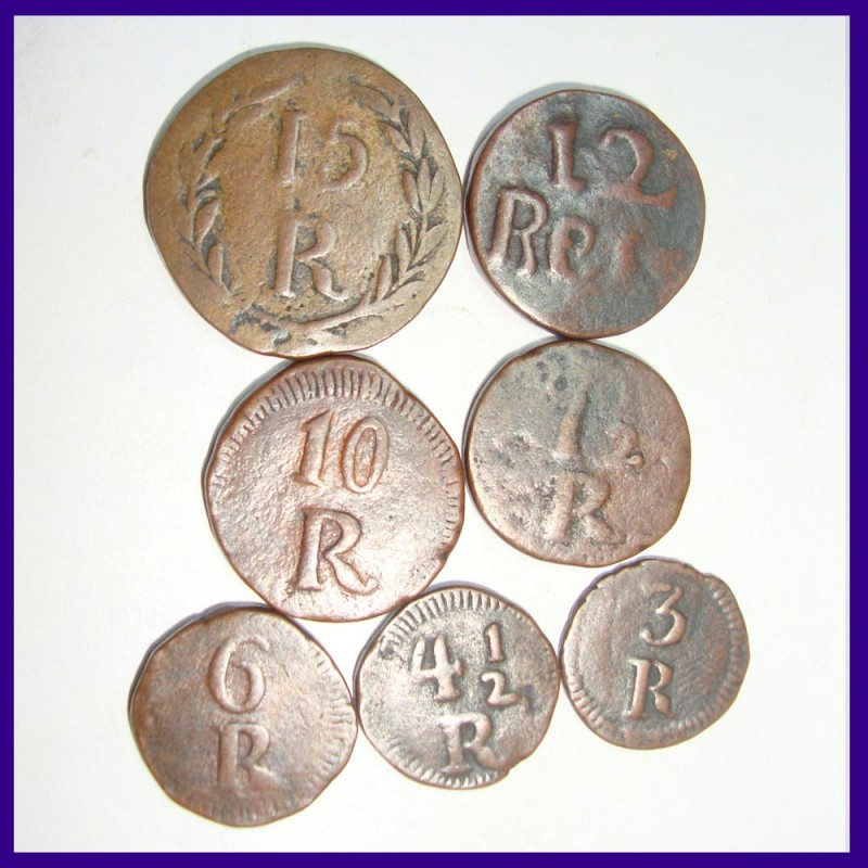 Set of 7 Different Reis Portuguese India - 15 Reis, 12 Reis, 10 Reis, 7.5 Reis, 6 Reis, 4.5 Reis, and 3 Reis