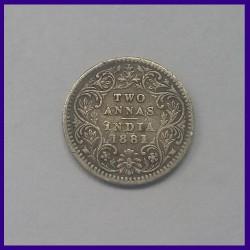 1881, Two Annas, Victoria Empress Silver Coin, British India