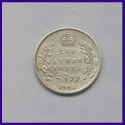 1908 Two Annas, Edward VII King, British India Silver Coin