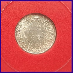 1940 Certified Half (1/2) Rupee Silver Coin George VI King - British India