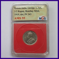 1919 Certified Half Rupee George V Bombay Mint British India Coin