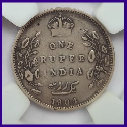 1904 Die Error Certified One Rupee Silver Coin - Edward VII King - British India