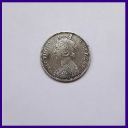 1897 One Rupee 'C' Incuse Victoria Empress RARE Silver Coin - British India
