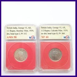 1939 Half Rupee 2 Varieties Certified Silver Coins George VI King - British India