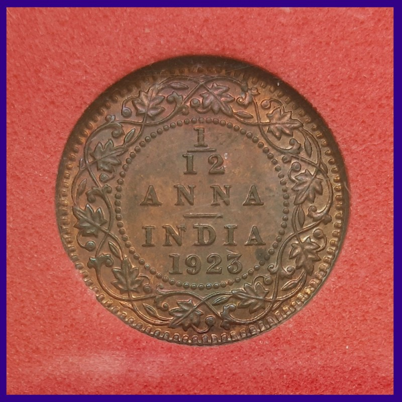 1923 Certified UNC 1/12 Anna Calcutta Mint George V King Coin, British India