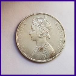 1897 One Rupee 'B' Incuse Victoria Empress RARE Silver Coin - British India