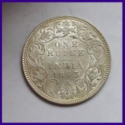 1893 UNC Victoria Empress One Rupee Silver Coin - British India