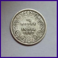 1887 Quarter (1/4) Rupee British India Victoria Empress Silver Coin
