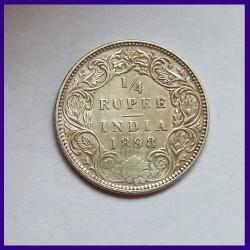 1898 Quarter (1/4) Rupee Victoria Empress Silver Coin, British India
