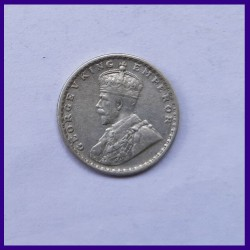 1917 Two Annas George V, British India Silver Coin