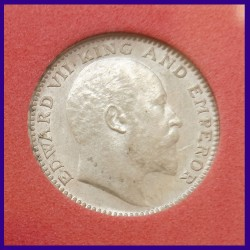 1907 Half Rupee Certified Bombay Mint, Edward VII King, British India Silver Coin