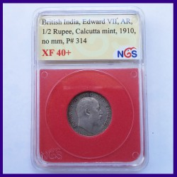 1910 Half Rupee Certified Calcutta Mint, Edward VII King, British India Silver Coin