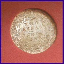 1862 Certified UNC Two Annas, Victoria Queen Silver Coin, British India