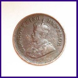 1915 Calcutta Mint 1/2 Pice, George V King - British India Coinage