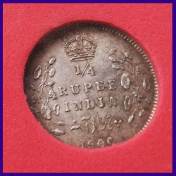 1906 Certified Quarter Rupee Silver Coin Edward VII King - British India