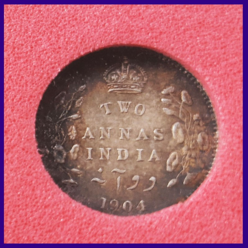 1904 Certified Two Annas, Edward VII King, British India Silver Coin