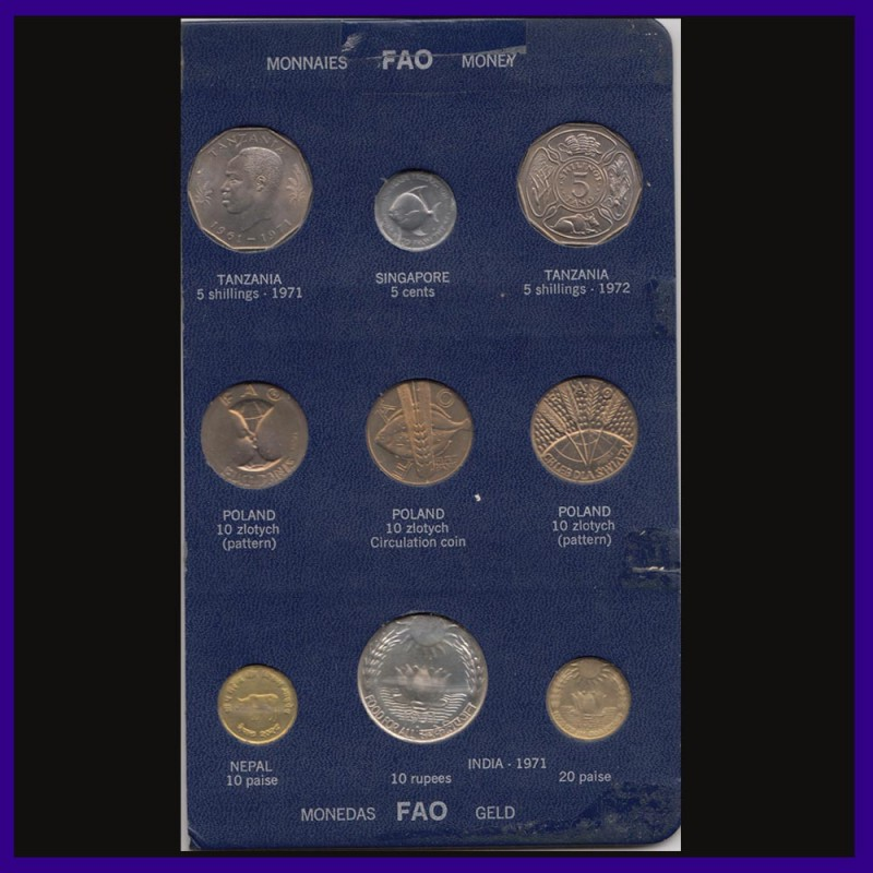 1971 Food For All Set of 9 World Coins - Blue FAO Proof Coins