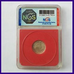 1929 Certified MS 1/4 (Quarter) Rupee George V Calcutta Mint British India Coin