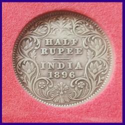 1896 Certified Half Rupee Victoria Empress - Silver Coin - British India