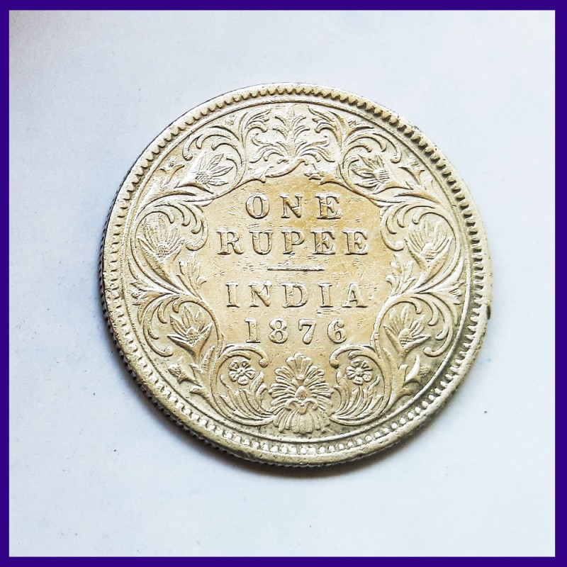 1876 Victoria Queen A/I Without Dot Variety One Rupee Silver Coin British India