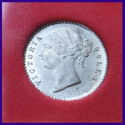 1841 Certified DL Two Annas, Calcutta Mint, Victoria Queen Silver Coin, East India Company