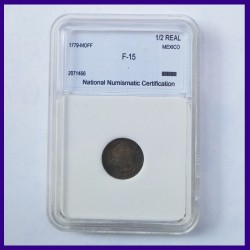 Mexico Certified 1/2 Real 1779 Silver Coin