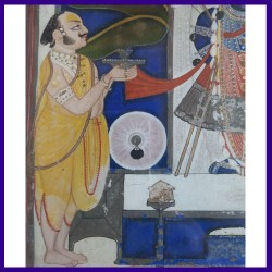Original Painting Of Shreenathji Standing With Two Attendants