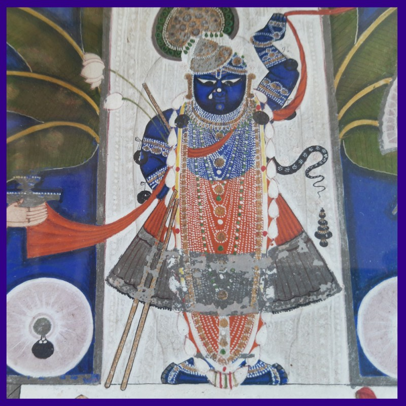 Original Painting Of Shrinathji Standing With Two Attendants