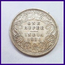 1886 Unlisted Variety One Rupee Victoria Empress Silver Coin - British India