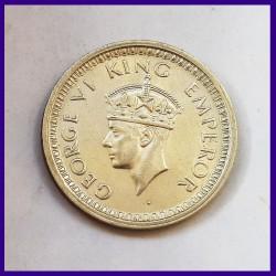 1945 AUNC One Rupee George VI King, British India Silver Coin