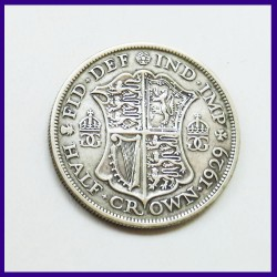 1929 Half Crown George V Silver Coin - Great Britain