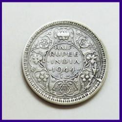 1944 Die Error Half (1/2) Rupee Lahore Mint Silver Coin George VI King - British India