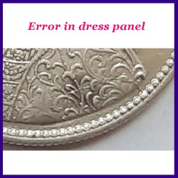 1862 Error Victoria One Rupee Silver Coin