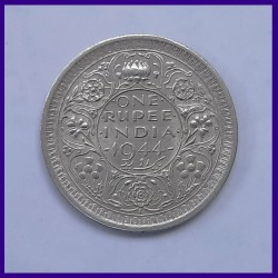 1944 AUNC Lahore Mint One Rupee George VI King, British India Silver Coin