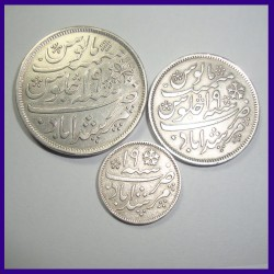 Set of 3 Bengal Presidency Murshidabad Mint Silver Coins