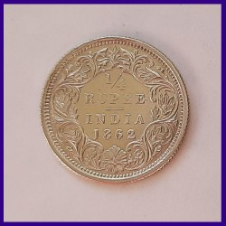 1862 UNC Quarter Rupee Victoria Queen British India Silver Coin
