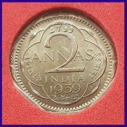 1939 Certified MS Two Annas George VI King
