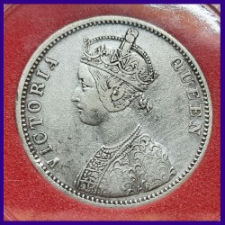 1862 Certified 1/2 Dot Bombay Mint Victoria Queen One Rupee Coin