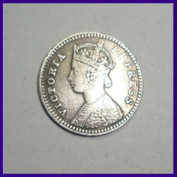 1883 Two Annas Victoria Empress Silver Coin