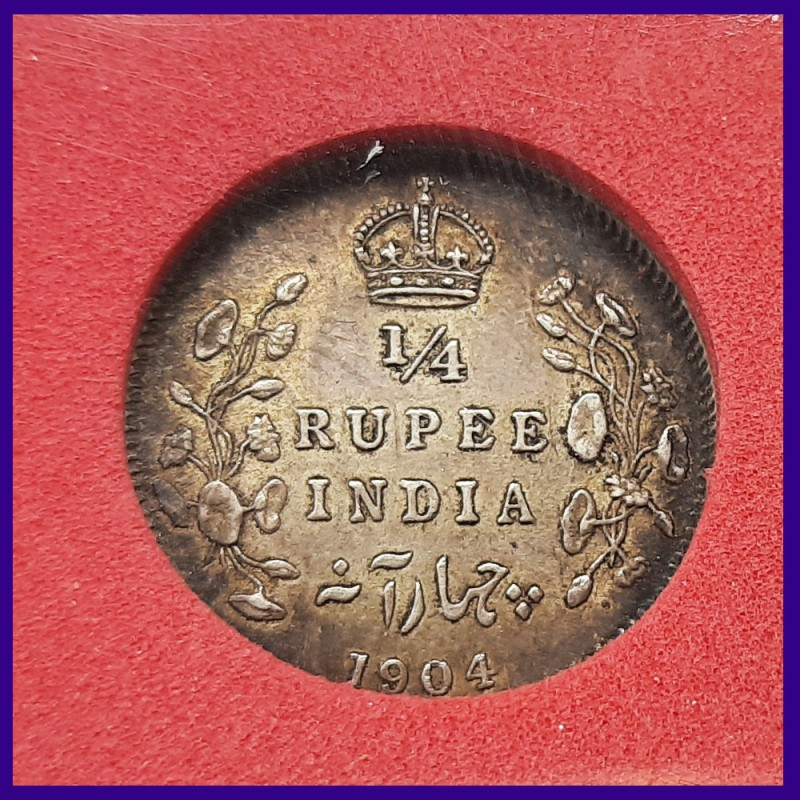 1904 Certified 1/4th Rupee Edward VII King, British India Silver Coin