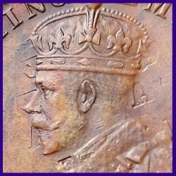 1914 Ghost Error George V One Quarter Anna Copper Coin