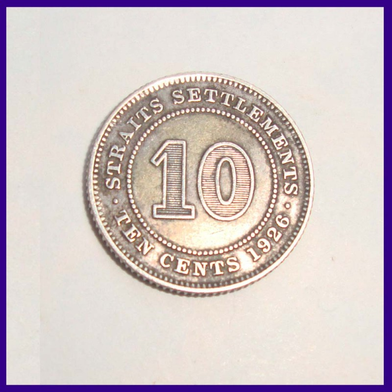 1926 Straits Settlement 10 Cents George V King Silver Coin